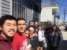 Photo of one of the UMass teams who spent five days with Deacon Brown and his wife repainting the house and making important repairs like fixing a rooftop leak, broken wall boards, and plumbing issues.